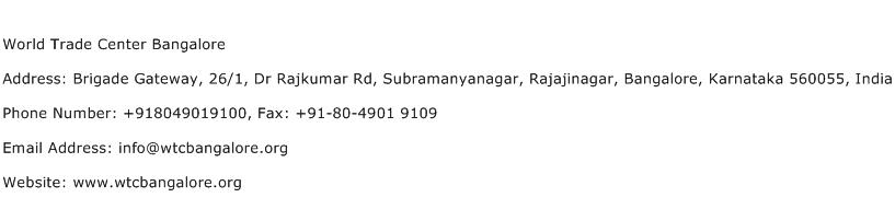 World Trade Center Bangalore Address Contact Number