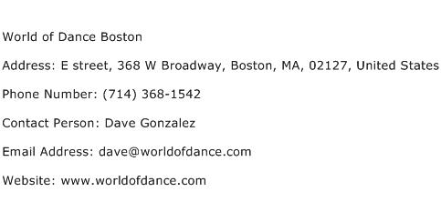 World of Dance Boston Address Contact Number