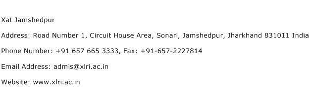 Xat Jamshedpur Address Contact Number