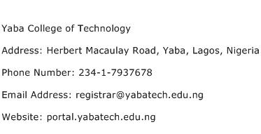 Yaba College of Technology Address Contact Number
