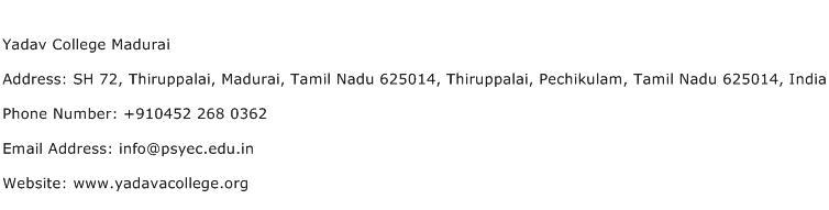 Yadav College Madurai Address Contact Number