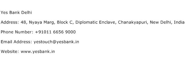 Yes Bank Delhi Address Contact Number