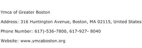 Ymca of Greater Boston Address Contact Number