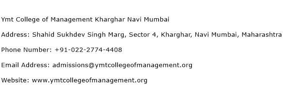 Ymt College of Management Kharghar Navi Mumbai Address Contact Number