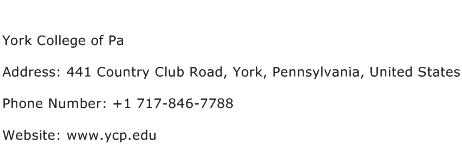 York College of Pa Address Contact Number