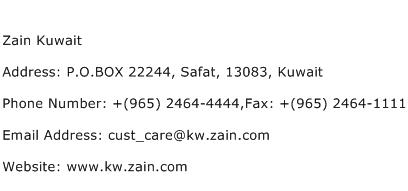 Zain Kuwait Address Contact Number