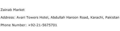 Zainab Market Address Contact Number