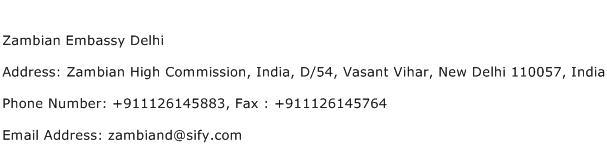 Zambian Embassy Delhi Address Contact Number