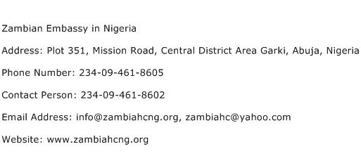 Zambian Embassy in Nigeria Address Contact Number