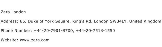 Zara London Address Contact Number