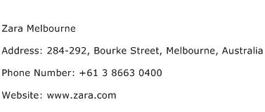 Zara Melbourne Address Contact Number