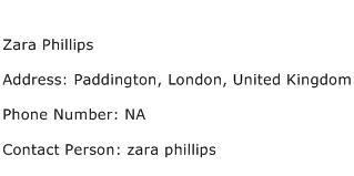 Zara Phillips Address Contact Number