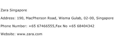 Zara Singapore Address Contact Number