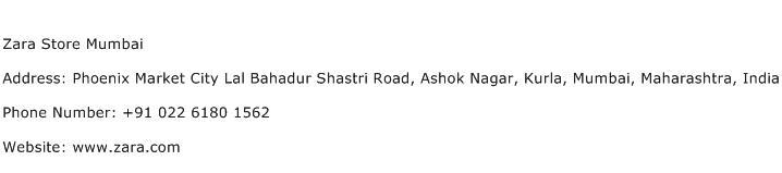Zara Store Mumbai Address Contact Number