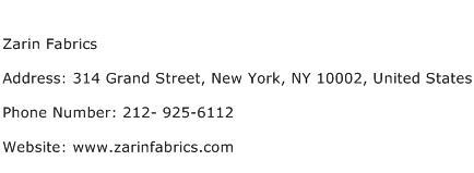 Zarin Fabrics Address Contact Number