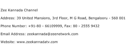 Zee Kannada Channel Address Contact Number