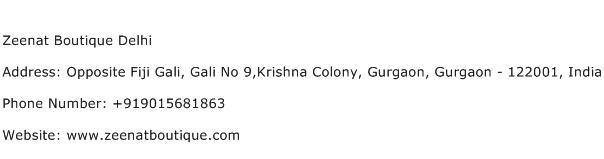 Zeenat Boutique Delhi Address Contact Number