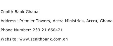 Zenith Bank Ghana Address Contact Number