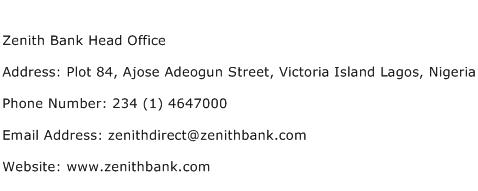 Zenith Bank Head Office Address Contact Number
