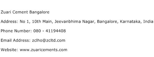Zuari Cement Bangalore Address Contact Number