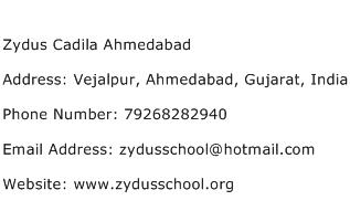 Zydus Cadila Ahmedabad Address Contact Number