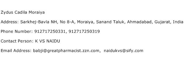 Zydus Cadila Moraiya Address Contact Number