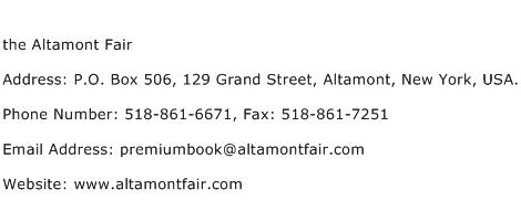 the Altamont Fair Address Contact Number