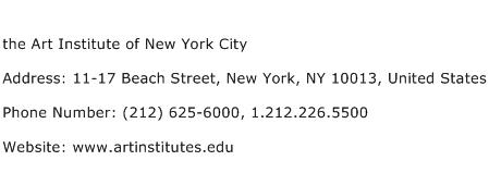 the Art Institute of New York City Address Contact Number