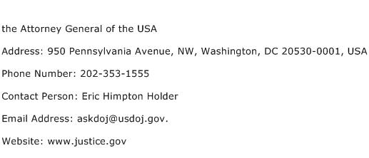 the Attorney General of the USA Address Contact Number