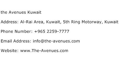 the Avenues Kuwait Address Contact Number