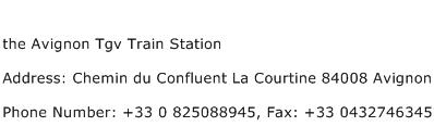 the Avignon Tgv Train Station Address Contact Number