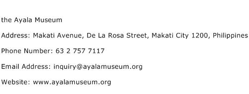 the Ayala Museum Address Contact Number
