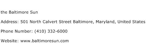 the Baltimore Sun Address Contact Number