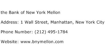 the Bank of New York Mellon Address Contact Number