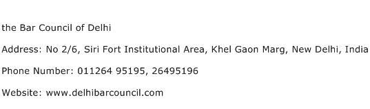the Bar Council of Delhi Address Contact Number