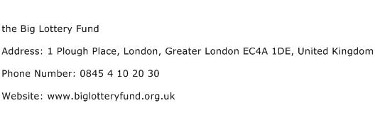 the Big Lottery Fund Address Contact Number