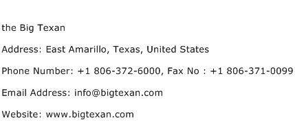 the Big Texan Address Contact Number