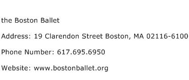 the Boston Ballet Address Contact Number