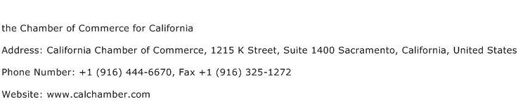 the Chamber of Commerce for California Address Contact Number