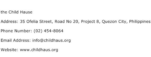 the Child Hause Address Contact Number