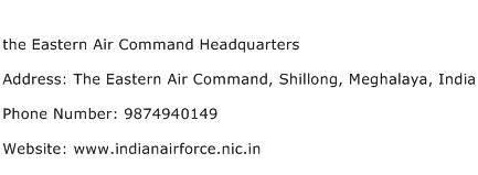 the Eastern Air Command Headquarters Address Contact Number