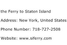 the Ferry to Staten Island Address Contact Number