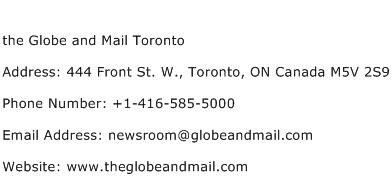 the Globe and Mail Toronto Address Contact Number