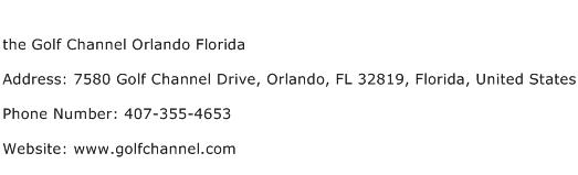 the Golf Channel Orlando Florida Address Contact Number