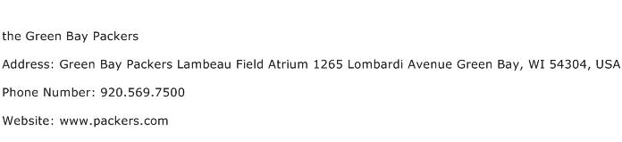 the Green Bay Packers Address Contact Number