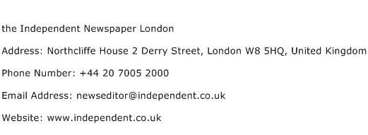 the Independent Newspaper London Address Contact Number