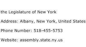the Legislature of New York Address Contact Number