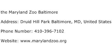the Maryland Zoo Baltimore Address Contact Number