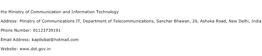 the Ministry of Communication and Information Technology Address Contact Number
