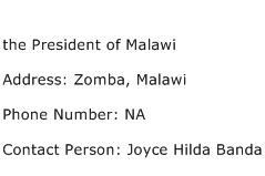 the President of Malawi Address Contact Number
